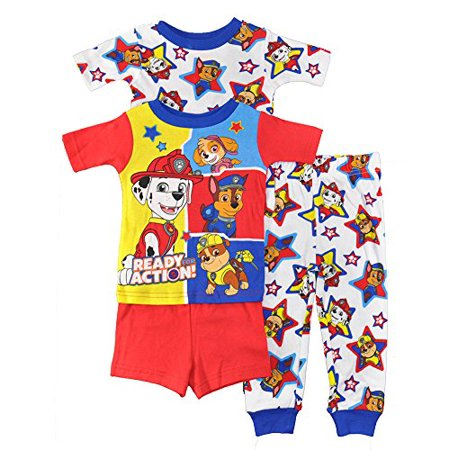 Paw Patrol Little Boys Toddler Charcter Print 4-Piece Snug Fit Cotton Pajama Set, 4T ()