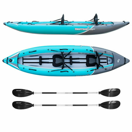 Driftsun Rover 220 Inflatable Tandem Kayak – 2 Person White Water Performance Kayak with High Pressure Floor, EVA Padded Seats with High Back Support, Aluminum Paddles, Pump and More