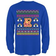 I Love the 90s Retro Nostalgia Ugly Christmas Sweater Mens Long Sleeve T Shirt Royal 3X-LG