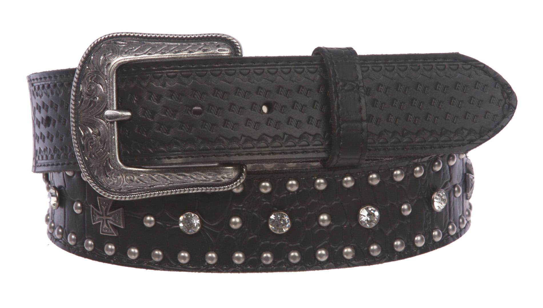 BBBelts Women 1-1//2 Black Alligator Print Leather Riveted Snap On Buckle Belt