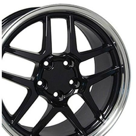 C5 Z06 Rims - 18 Inch C5 Z06 Style Fits: Chevy Camaro Corvette Pontiac Firebird | C5 Z06 Style Rims CV04 18x10.5/17x9.5 Rims Gloss Black Machined Lip SET