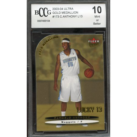 2003 04 Ultra Gold Medallion  173 Carmelo Anthony Lucky 13 Rookie Bgs Bccg 9