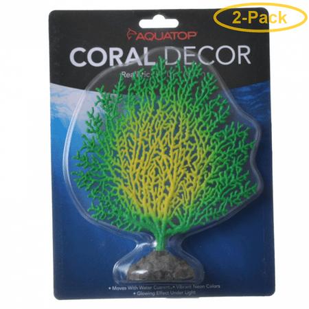 Aquatop Silicone Coral Branch Aquarium Ornament - Green/Yellow 1 Pack - (1.5L x 7W x 6H) - Pack of 2 ()