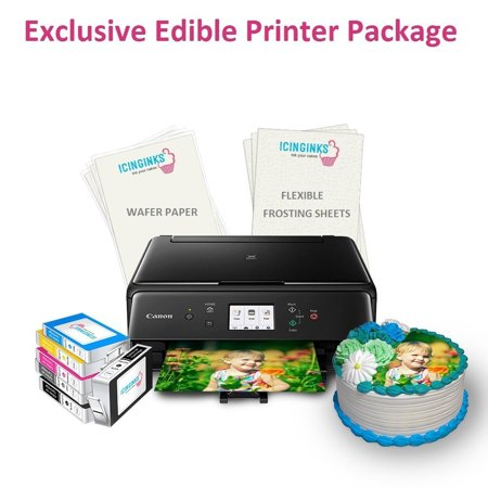 Canon Usa Wide Format Paper - Icinginks Wireless Canon Edible Image Printer for Cakes, Exclusive Edible Printer Package with 2 Types of 110 Assorted Edible sheets,Flexible Frosting Sheets,Wafer Paper & Set of Edible Ink Cartridges