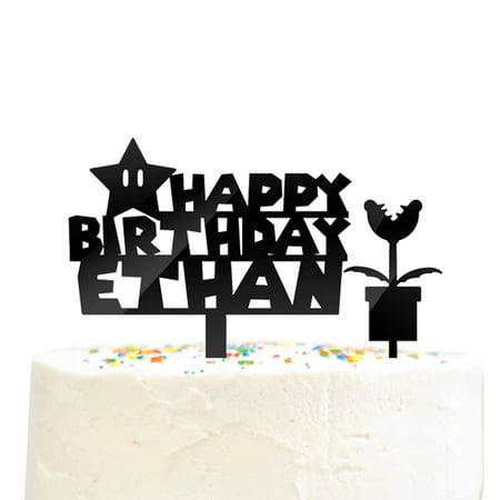2 Piece Custom Personalized Happy Birthday Name Mario Star Piranha Plant Cake Topper