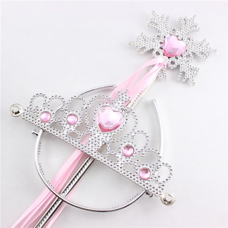 Princess Dress Up Accessories Tiara Crown and Snowflake Wand Set Children Cosplay Accessories Color:Pink