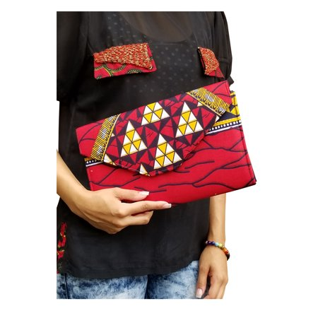 Red African Diamond Print Clutch Purse ()