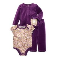 First Impressions Infant Girl 3 PC Purple Velour Kitty Pants Shirt Sweater