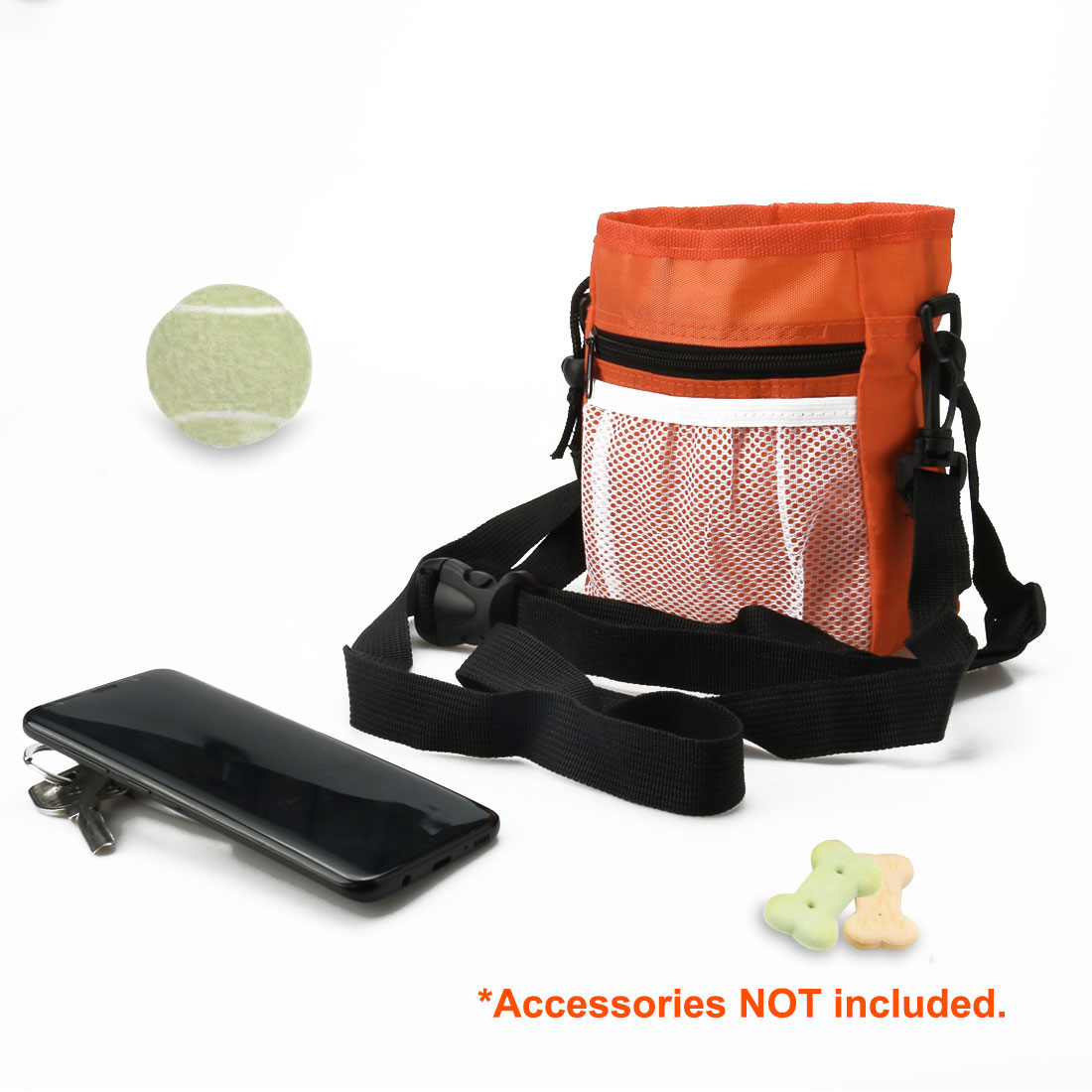 Dog Treat Training Bag Easily Carry Pets Holder Adjustable Waist Bag Orange