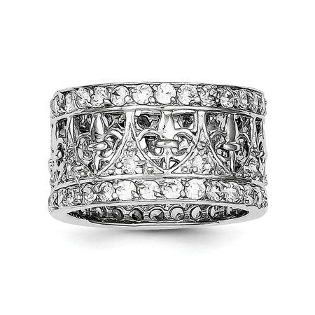 IceCarats 925 Sterling Silver Cubic Zirconia Cz Fleur De Lis Wedding Ring Band Size 7.00   Fine Jewelry Gift Valentine Day Set For Women Heart - Rings For Valentine's Day