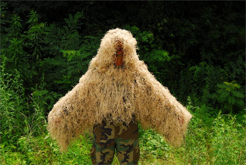 "Click here to buy Ghillie Suits The ""Tracker"" Ghillie Poncho Synthetic thread version Desert by Ghillie Suits."