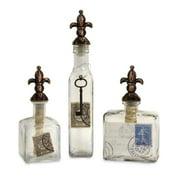 Beautiful Set of 3 Bottles with Fleur De Lis Stopper