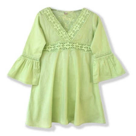 - Azul Little Girls Green Lace Detail Flared Cuffs Tunic Cover Up