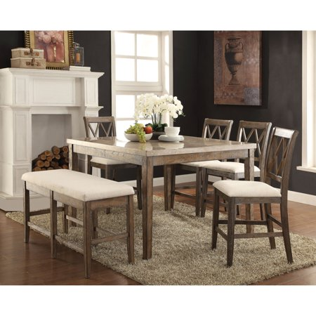 Acme Furniture Claudia 54 In Counter Height Marble Dining Table