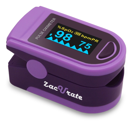 Zacurate Pro Series Deluxe 500D Fingertip Pulse Oximeter Blood Oxygen Saturation Monitor With Plethysmograph Feature  Silicon Cover  Lanyard And Batteries  Royal Purple