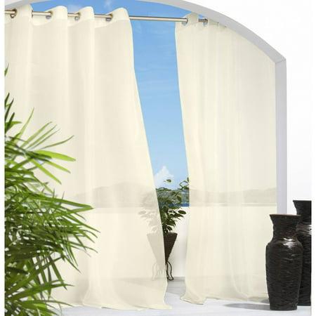 Solid Indoor/Outdoor Grommet Top Sheer Curtain Panel - Ivory (54u0022x 84u0022)