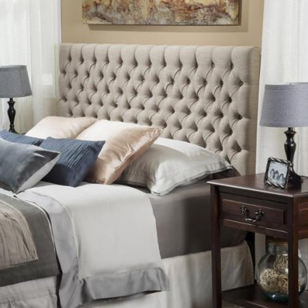 Denise Austin Home Cannes Adjustable King/ California King Fabric Headboard-Sand Austin Black Leather