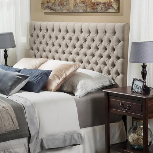 Denise Austin Home Cannes Adjustable King/ California King Fabric Headboard-Sand