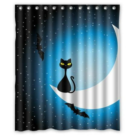HelloDecor Black Cat on the Moon Bats Halloween Shower Curtain Polyester Fabric Bathroom Decorative Curtain Size 60x72 Inches - Halloween Cat Fabric