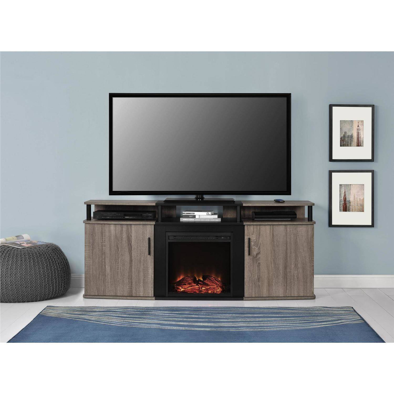 70 Inch Tv Stand Fireplace Media Console Organizer