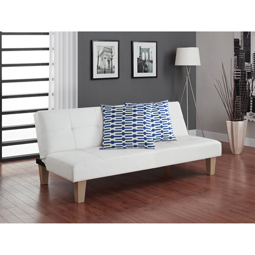 Aria Futon Sofa Bed with Decorative Pillows, Blue and White