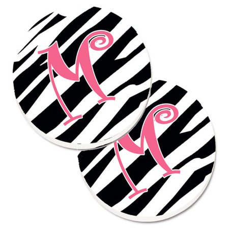Carolines Treasures CJ1037-MCARC Monogram Initial M Zebra Stripe & Pink Set of 2 Cup Holder Car Coaster - image 1 de 1