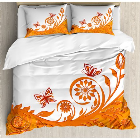 Orange Duvet Cover Set Artistic Rose Branch Motif With Fl Swirls In Old Fashioned Style Erflies Decorative Bedding Pillow Shams