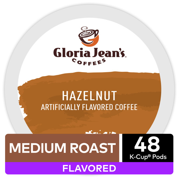 Gloria Jean's Hazelnut Flavored Keurig K-Cup Coffee Pods, Medium Roast Coffee, 48 Count