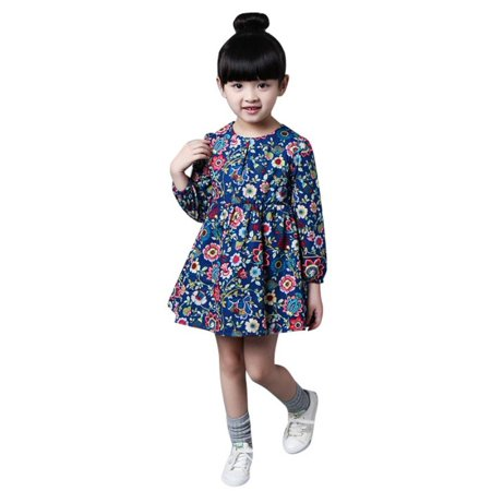 2-8 Ages Girls Dress Casual Long Sleeves Flower Princess Girl Dresses Summer Autumn 2017 Toddler Girl Clothing (Long Princess Dresses For Girls)
