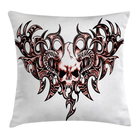 Tattoo Decor Throw Pillow Cushion Cover, Combined Hearts with Skull Eagle Wings Symbol of the Brave Love Print, Decorative Square Accent Pillow Case, 18 X 18 Inches, Black White and Red, by Ambesonne