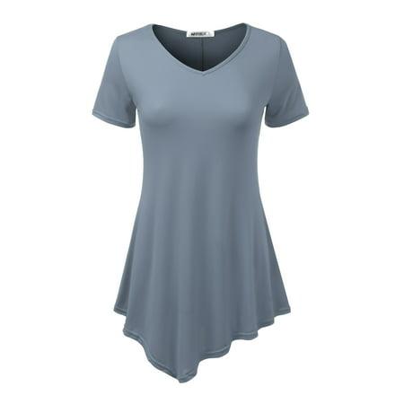 6afa6e80ed0 Doublju - Doublju Women's Short Sleeve Tunic Top Loose Fit Flare T-Shirt  DENIMBLUE L - Walmart.com