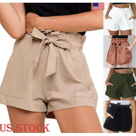2019 New Women High Waist Shorts Bow Tie Belt Shorts Ladies Summer A-line Hot Loose Solid Color Short Mujer Female