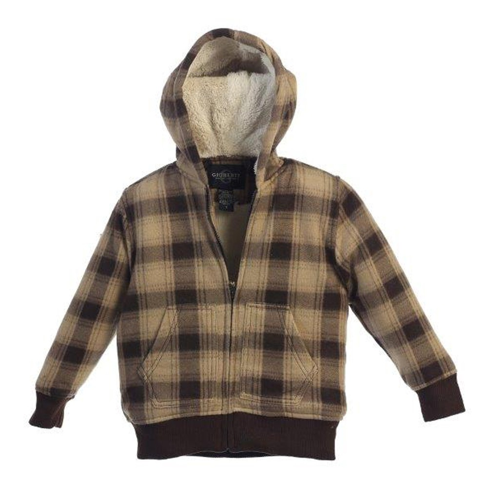 Little Boys Tan Brown Plaid Sherpa Lining Hooded Flannel Jacket 4-7