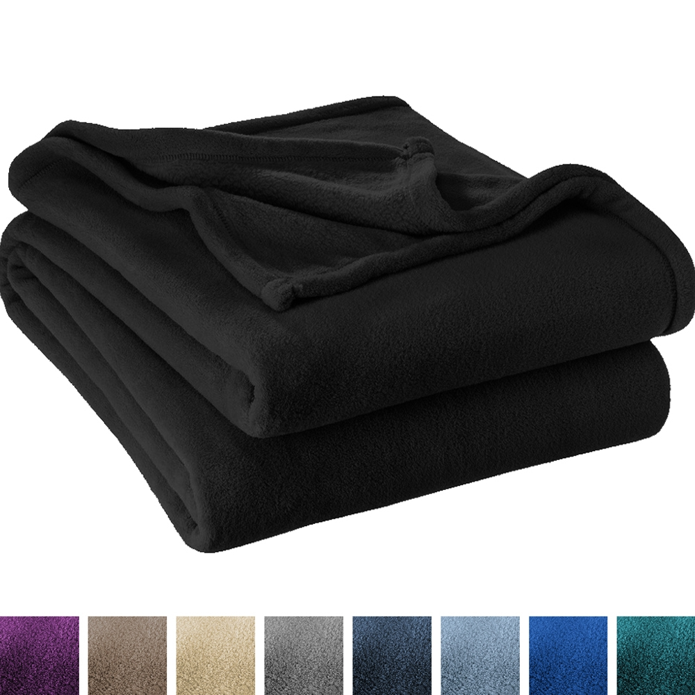 Ultra Soft Microplush Velvet Blanket   Luxurious Fuzzy Fleece Fur   All Season Premium Bed Blanket, Twin Extra Long (Twin / Twin Xl, Black) by Bare Home