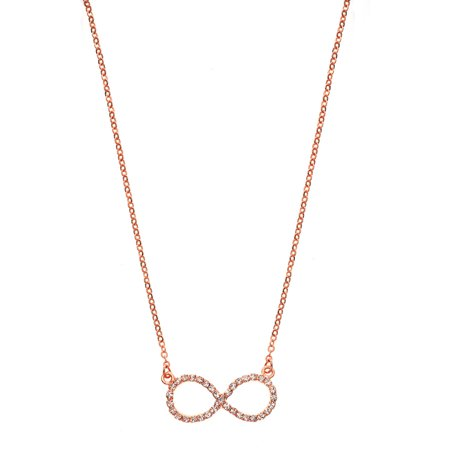 Handset Austrian Crystal 14kt Rose Gold-Plated Infinity Necklace Austrian Crystal Angel Necklace
