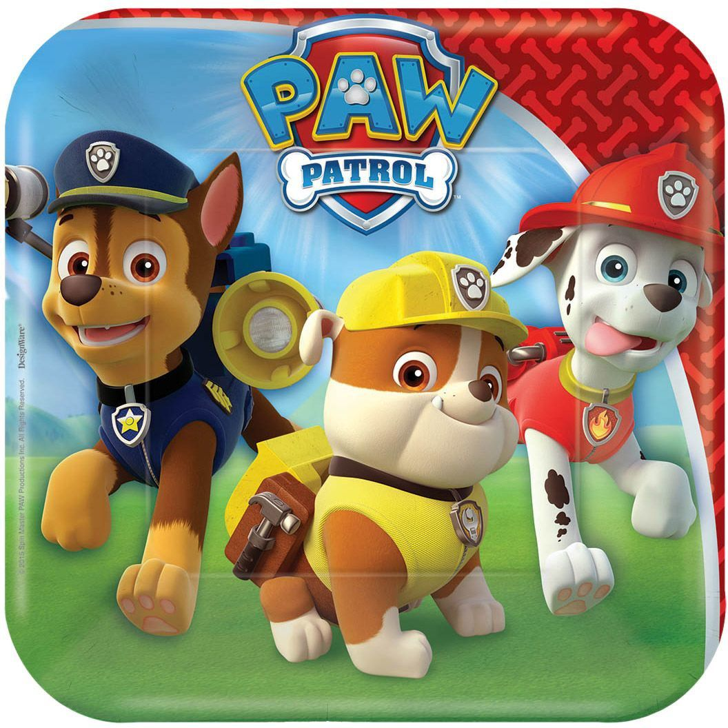 "7"" PAW Patrol Square Paper Party Plate, 8ct"