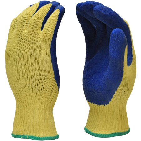 G & F Cut-Resistant 100 Percent Kevlar Gloves, Heavy-Weight Textured Blue latex-coated Palm, Large, 1 Pair ()