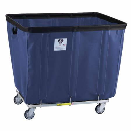 R&B Wire Products 406SOC-ANTI-NVY 6 Bushel Antimicrobial Vinyl Basket Truck All Swivel Casters, Navy - 31 x 21 x 26.5 in.