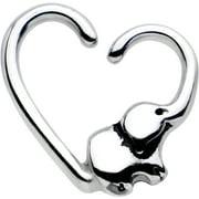 "Body Candy Steel Elephant Trunk Heart Left Daith Cartilage Tragus Earring 16 Gauge 3/8"""