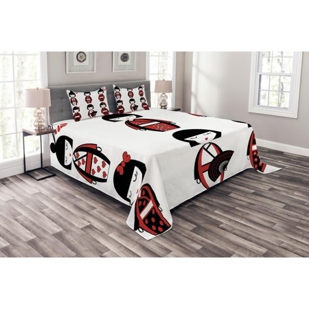 Girls Bedspread Set, Unique Asian Geisha Dolls in Folkloric Costumes Outfits Hair Sticks Kimono Art Image, Decorative Quilted Coverlet Set with Pillow Shams Included, Black Red, by Ambesonne (King And Queen Outfits)
