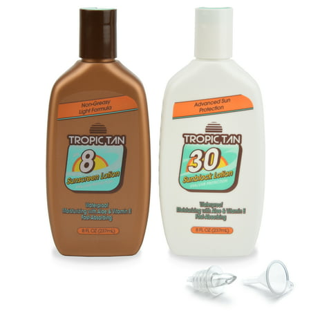 GoPong Sunscreen Flask 2 Pack - Tropic Tan Classic Bottle Style, Includes Funnel and Liquor Pour Spout (Liquor Punch)