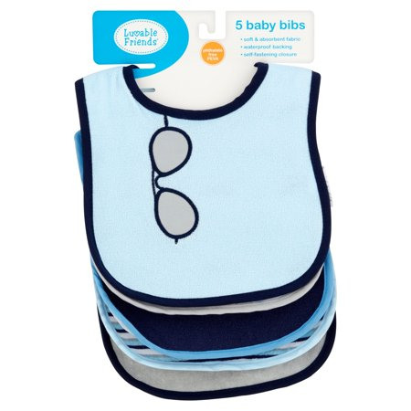 Luvable Friends Baby Boy and Girl Drooler Bib with PEVA Back, 5-Pack - (Reversible Baby Bib)