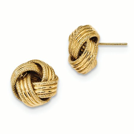 14K Yellow Gold 14 MM Polished Textured Love Knot Post Stud Earrings 14k Love Knot Earrings