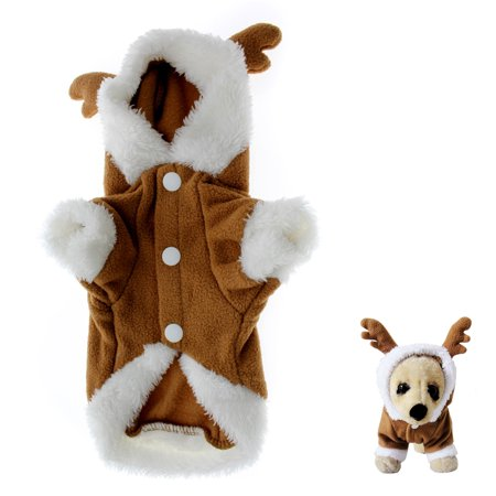 Puppy Dinosaur Costumes (Dog Puppy Soft Hoodie Jumpsuit Two Feet Clothes Christmas ElK)