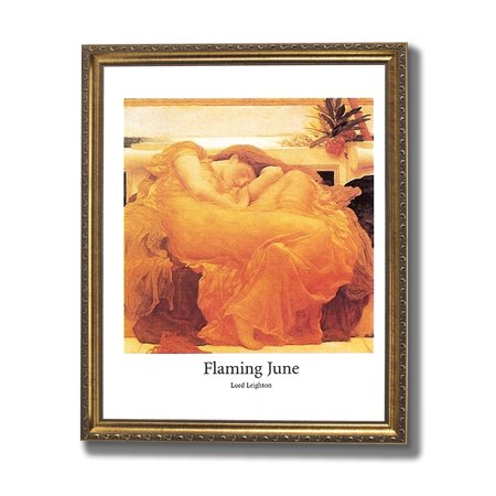 Victorian Flaming June Lady Sleeping In Chair Wall Picture Gold Framed Art Print