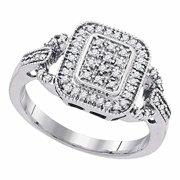 Roy Rose Jewelry Sterling Silver Womens Round Diamond Rectangle Frame Cluster Ring 1/4-Carat tw