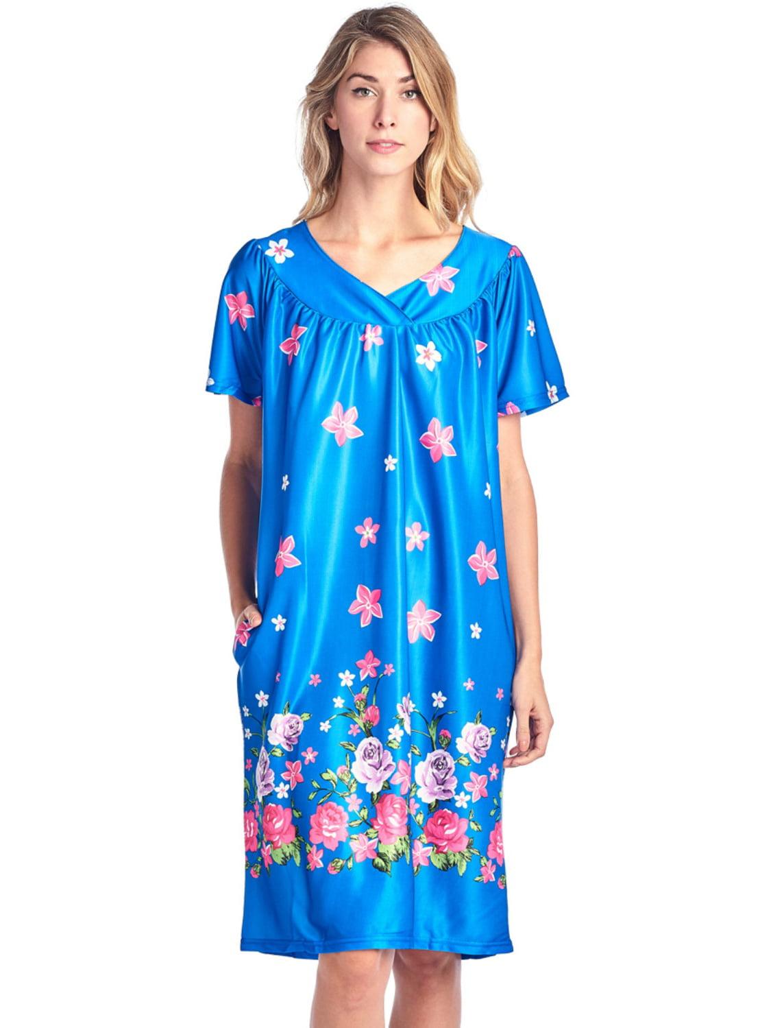 Casual Nights Women\'s Short Sleeve Muumuu Lounger Dress - Yellow ...