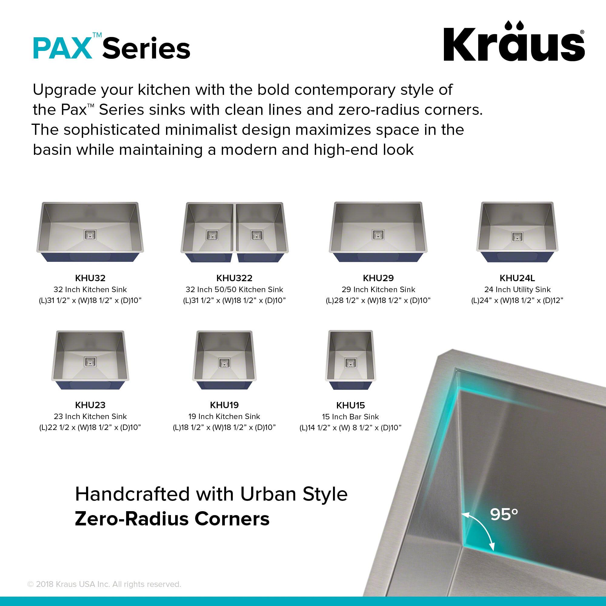 KRAUS Pax™ Zero Radius 24 Inch 18 Gauge Undermount Single Bowl Stainless  Steel Laundry And Utility Sink   Walmart.com