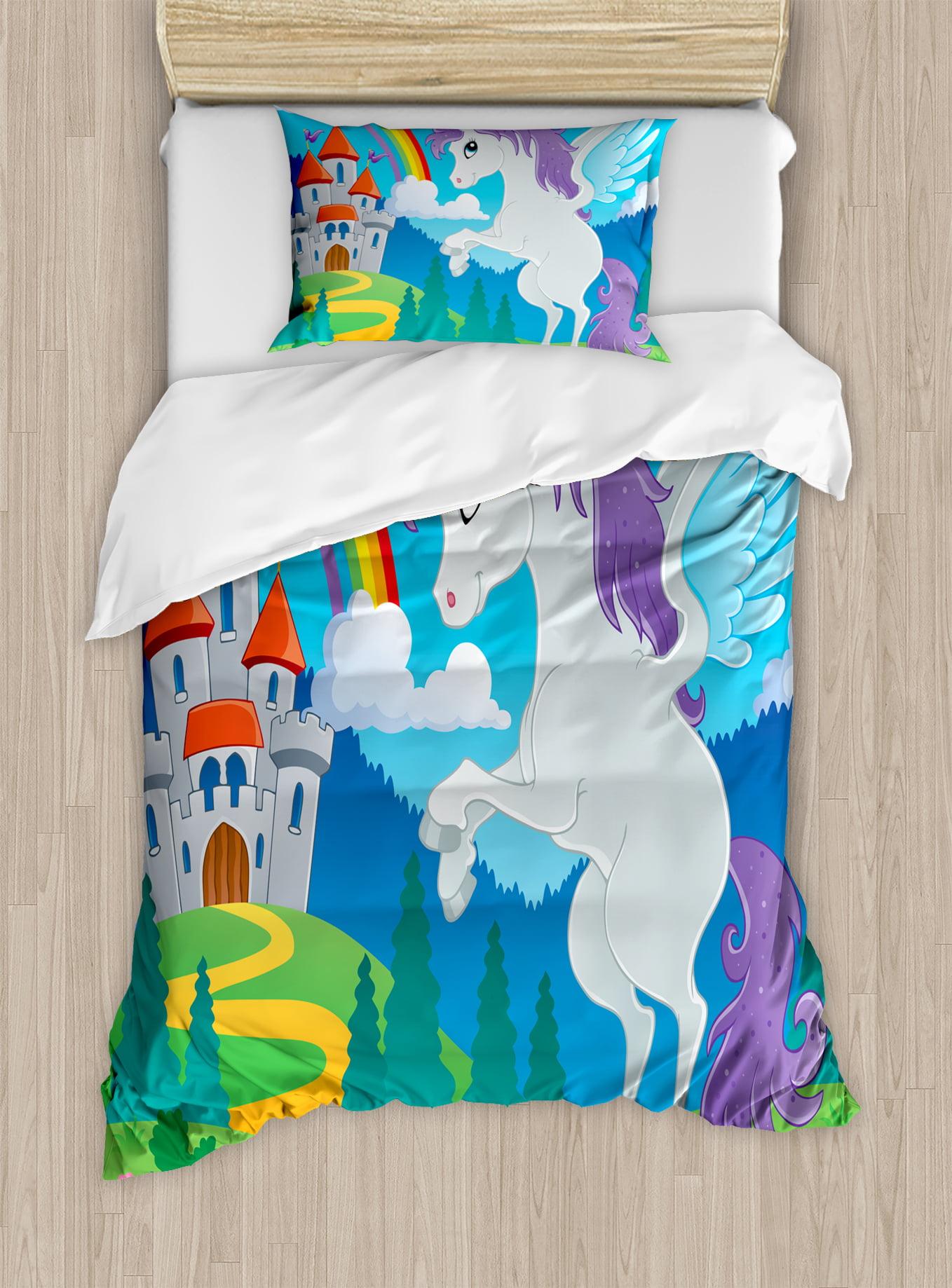 Unicorn Bedroom Set: Kids Duvet Cover Set, Fantasy Mythical Unicorn With