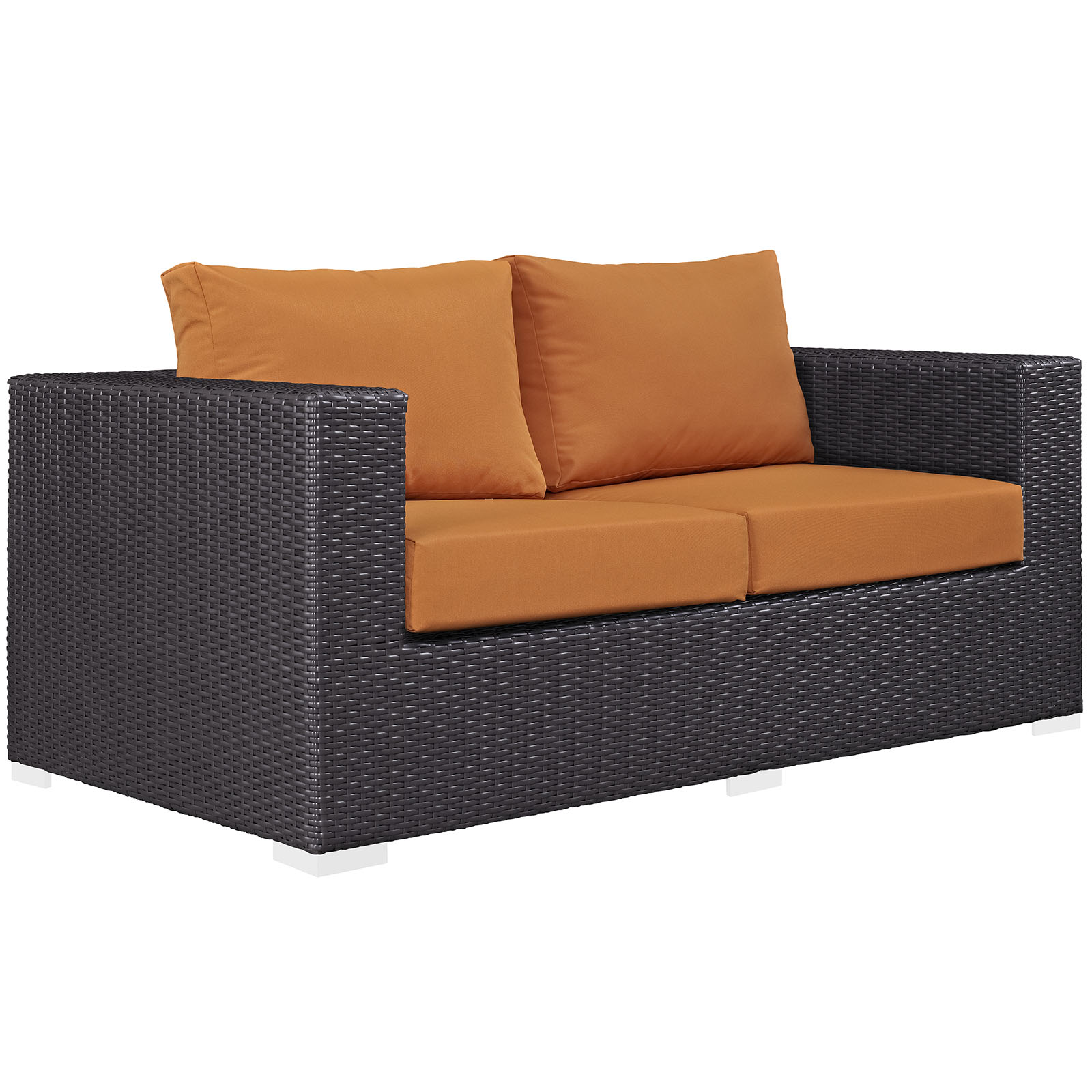 Modern Contemporary Urban Design Outdoor Patio Balcony Loveseat Sofa, Orange, Rattan